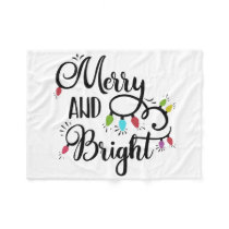merry and bright holiday lights fleece blanket