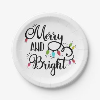 merry and bright holiday lights paper plate
