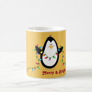 Merry and Bright Holiday Lights Penguin Mug
