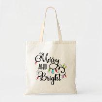 merry and bright holiday lights tote bag