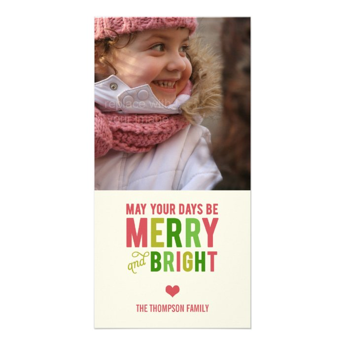 Merry And Bright Holiday Photo Card/Christmas Card