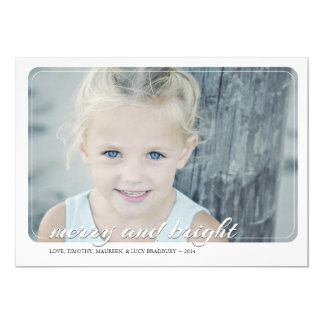 """Merry and Bright   Holiday Photo Card 5"""" X 7"""" Invitation Card"""
