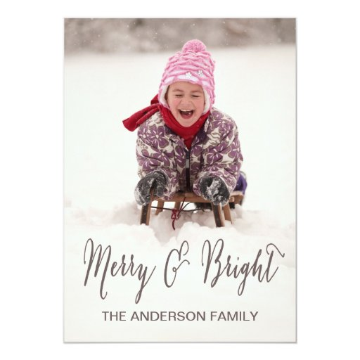 Merry and Bright   Holiday Photo Card Personalized Invitation