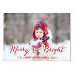 Merry and Bright Holiday Photo Card   Red Custom Announcement
