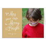 Merry and Bright Holiday Photo Christmas Cream Greeting Cards
