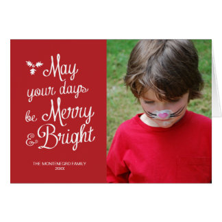Merry and Bright Holiday Photo Christmas Red Greeting Card