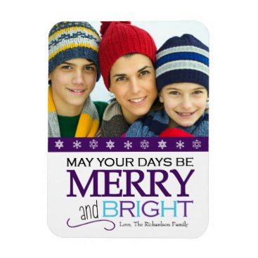 Merry and Bright Holiday Photo Magnet