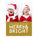 MERRY AND BRIGHT HOLIDAY PHOTO POSTCARD GOLD