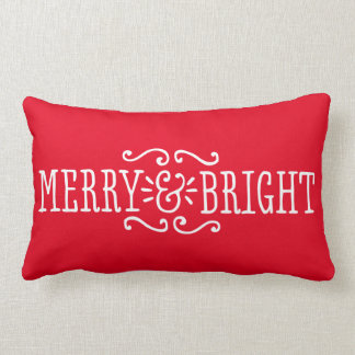 Merry and Bright Holiday Pillow | Custom Color