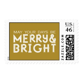 MERRY AND BRIGHT HOLIDAY POSTAGE GOLD