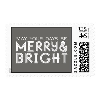 MERRY AND BRIGHT HOLIDAY POSTAGE GREY
