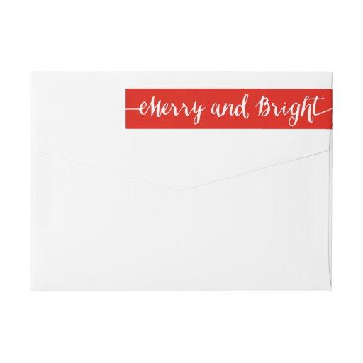 Merry and Bright Holiday Return Address Labels Wraparound Return Address Label