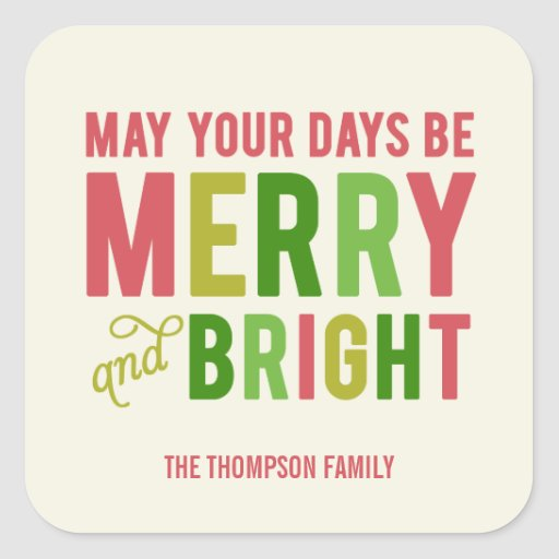 Merry and Bright Holiday Stickers/Envelope Seal Square Sticker