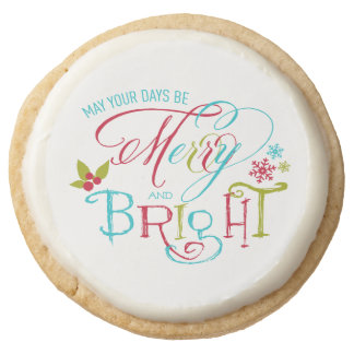 Merry and Bright | Holiday Treat Round Shortbread Cookie