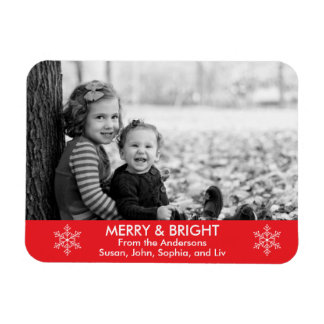 Merry and Bright Holiday Wishes Rectangular Photo Magnet