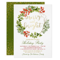 Merry and Bright Holly Berries Holiday Party Invitation