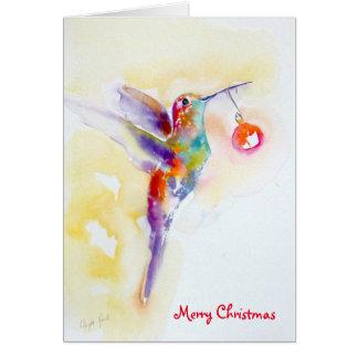 """Merry and Bright"" Hummingbird Print Card"