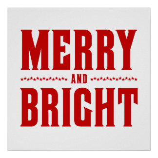 Merry and Bright Letterpress Style No. 507 Poster