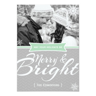Merry and Bright Mint Snow Christmas Flat Card