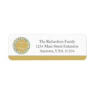 Merry and Bright Modern Dots Christmas Label