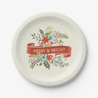 Merry and Bright Modern Floral Christmas Plates 7 Inch Paper Plate