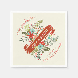 Merry and Bright Modern Floral Holiday Napkins