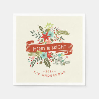 Merry and Bright Modern Floral Holiday Napkins Disposable Napkins