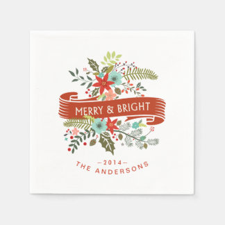 Merry and Bright Modern Floral Holiday Napkins Disposable Napkin