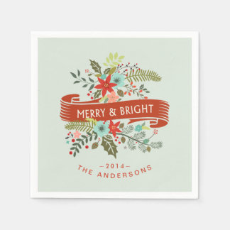 Merry and Bright Modern Floral Holiday Party Paper Napkin
