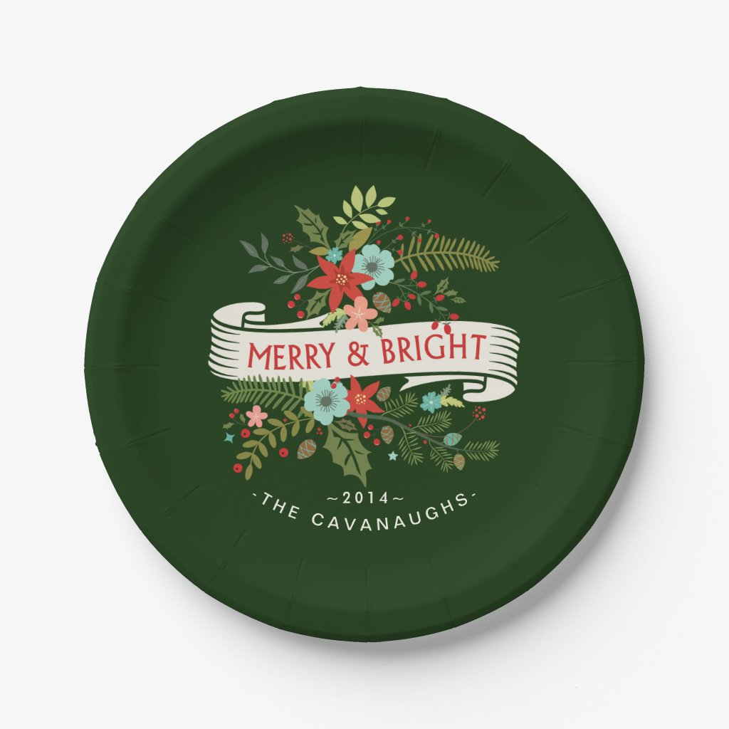 Merry and Bright Modern Floral Holiday Plates
