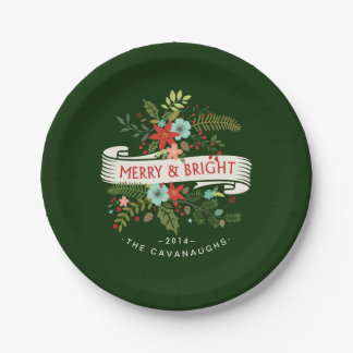 Merry and Bright Modern Floral Holiday Plates 7 Inch Paper Plate