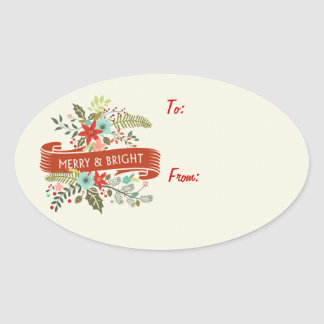 Merry and Bright Modern Floral Holiday Tag Sticker