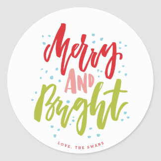 Merry and Bright Multi-Color Holiday Sticker