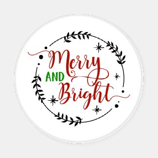 Merry and Bright Ornate Typography Christmas Coaster Set
