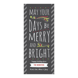 Merry and Bright Personalized Christmas Flat Card