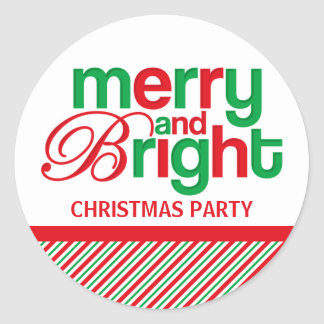 Merry And Bright Personalized Classic Round Sticker