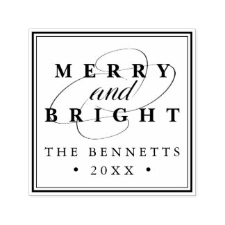 Merry and Bright | Personalized Holiday Self-inking Stamp