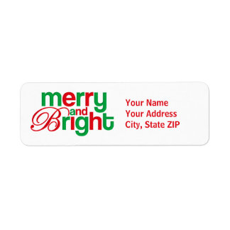 Merry And Bright Personalized Return Address Label
