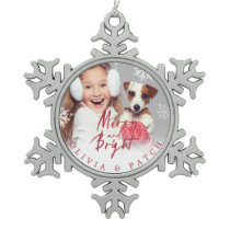 Merry and Bright | Pet Holiday Snowflake Snowflake Pewter Christmas Ornament