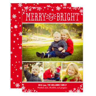 Merry and Bright Photo Card | Red Custom Color