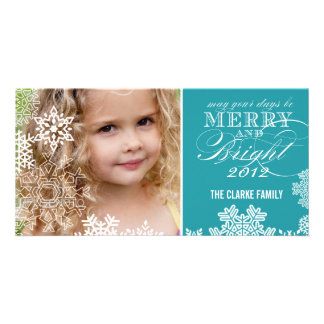 MERRY AND BRIGHT PHOTO CARD | TURQUOISE