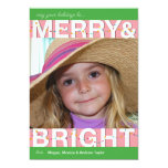 merry and bright photo customized personalized announcements