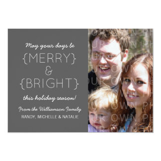 Merry and Bright Photo Flat Card, Gray Personalized Invitation