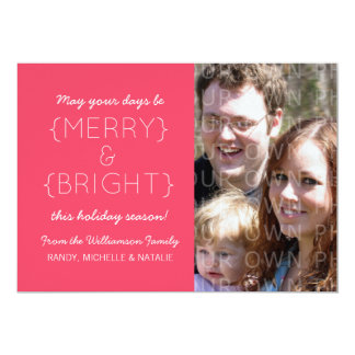 Merry and Bright Photo Flat Card, Pink Custom Invitations