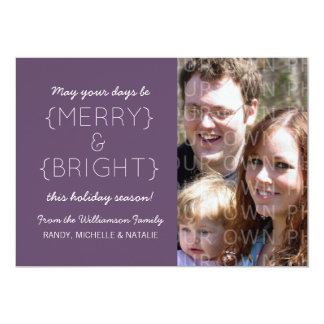 Merry and Bright Photo Flat Card, Purple Custom Announcements