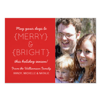 Merry and Bright Photo Flat Card, Red Announcement