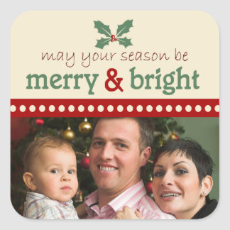 Merry and Bright Photo Holiday Stickers