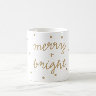 Merry and Bright Polka Dot Pattern Christmas Mug