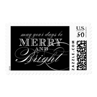 MERRY AND BRIGHT POSTAGE | BLACK