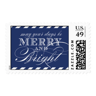 MERRY AND BRIGHT POSTAGE | NAVY BLUE STRIPES